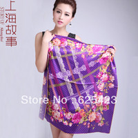 Printed Square Woven Hot Sale! Free Shipping 88*88CM Flowers Fall Language Flowers Silk Large Square Silky Satin Face Cloth Mulberry Silk Scarf