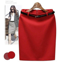 Wholesale New Fashion Women s Business Suit Pencil Skirt Elegant Wool Vocational OL Skirts Include Free Belt