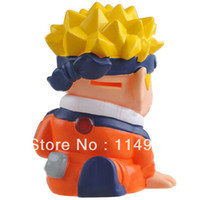 Wholesale Lovely Uzumaki Naruto Shaped Coin Loose Change Saving Piggy Bank Money Box Desktop Display