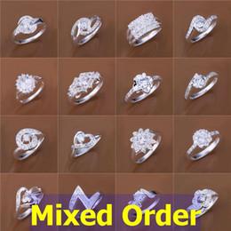 Los estilos elegantes mezclados 24pcs / lot de la orden de la vendimia despejan la plata esterlina de la piedra preciosa del Zirconia del Zircon de la CZ plateada # # FR135
