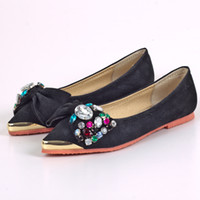 Wholesale 2013 Korea board flat shoes leather shoes color diamond beaded bow shoes Pointed Toe Pumps Irons