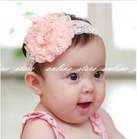 Headbands Lace Floral 30pcs lot Lace Flower Newborn Baby Infant Toddler Kid Girl Headband Christening Elastic xth006
