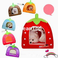 Wholesale New Cute Colorful Strawberry Folding Pet Nest Dog Cat Bed Kennel Warm House S L M Size Colors