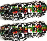 Wholesale 20pcs New styles Mix Mens Legend Bob Marley Leather Bracelets mariguana Rasta leaf Mix Jamaica Jewelry