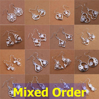 Wholesale 20pcs Mixed Order Zirconia Bijouterie Sterling Silver Plated Hollow Out Drop Earrings ER148