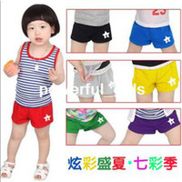 Wholesale 2013 summer five pointed star candy color boys clothing girls clothing baby child shorts kz