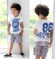 Boy Spring / Autumn Short 5sets lot 2013 NEW kids boy lucky letter 2pcs clothing suit set (top + plaid pants) kids summer wear