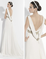 Cheap 2014 Designer Vintage Sheer Straps Applique A Line Chiffon Beaded Grecian Style Sexy Back Sweep Train Wedding Dress Bridal Gowns WH43