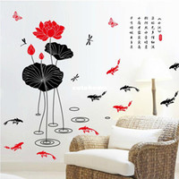 Living Room House of attachment YM027 Special offer free shipping Chinese style wall stickers removable wall stickers living room furniture TV wall den Ink lotus
