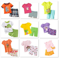 Wholesale Retail Girl s Pyjama Sets Boy s Pajamas Suits Sample order Short Sleeve T shirt Shorts Suit Top Quality M1777