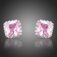 Wholesale noble pink crystal white gold women s earrings