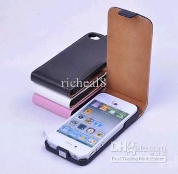 Buy PU Leather Fold Flip Open Skin Case Cover Protector iphone 4 4G 4S Brown/Black/White/pink