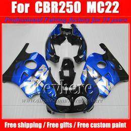 Descuento 91 carenados honda cbr ABS plástico azul blanco negro mtorcycle carenado kit para CBR250 MC22 1990 1991 HONDA CBR 250RR 90 CBR250RR 91 carrocerías carenados conjunto TL1