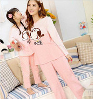 fashion pajamas - Hot New Fashion Cotton long sleeved cotton pajamas Mother and daughter Parent child outfit