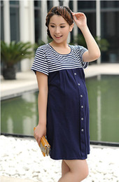 Wholesale Pregnant Women Pregnant Women Dress Clothes Stripe Dress With Short Sleeves In Summer lt lt gadjhd