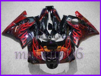 Comression Mold For Honda CBR600 F2 Customizedblak red flames ABS Fairing for CBR600F2 91 92 93 94 Body Kit Fairing for Honda CBR600 CBR 600 F2 91 92 93 94 ABS Plasti