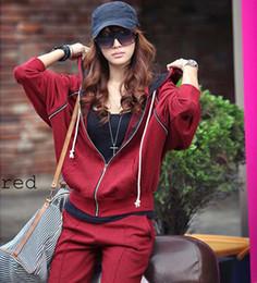 Wholesale Korean Sport Suit Tracksuits Women Ladies Casual Tops Blouse Hoodies Cotton Long Sleeve Batwing XN08