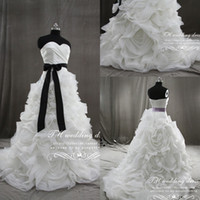 Wholesale Actual Image Celebrity Sweetheart Satin with Black Belt Organza Flowers bridal wedding dress wedding gown
