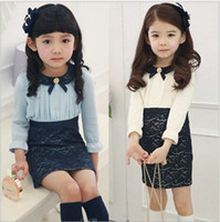 Wholesale Spring autumn Children s clothing baby girls long sleeve dresses Girls doll collar lace A line dress princess dress