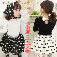 Wholesale Spring Autumn Children s clothing baby Girls long sleeve skirt suits black white T shirts bow skirts Scarf Bandage sets
