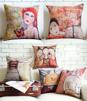 Wholesale Novelty oil painting style winged angel girls butterfly pattern cushion cover home car hotel decorative throw pillow case