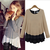 Wholesale 2014 New Arrival Women s O Neck Loose Design Ruffles Layered Long Sleeves Fashion Steet Style Blouses