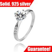 achat en gros de véritable pierres précieuses bagues en argent sterling-# RI100527 Designer Classic Stlye Wedding Bands pour les femmes Bijoux CZ Zircon Gemstone Genuine 925 Sterling Silver Lady Ring