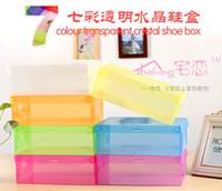 Wholesale Transparent Plastic Shoes Boxes Clear PP Shoes Storage Boxes Foldable Plastic Woman Boots Boxes Bins Makeup Boxes