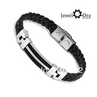 Wholesale BA100617 Wide Mens weave Chain Bracelet mmx70mm Leather Stainless Steel Men Bracelet