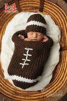 Envelope baby cocoon - Hot sale Crochet baby sleeping bags infant sleep cocoon hats baby crochet football pattern baby sleeping bag