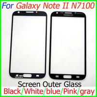 Wholesale Front Screen Outer Glass Lens no touch for Samsung Galaxy Note II N7100 Black White gray