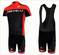 Short Men  Wholesale - Free shipping CASTELLI red and black team CYCLING JERSEY AND BIB SHORTS bike jersey Cycling Clothing
