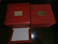 Wholesale 2013 new Luxury square red leather box for watches booklet card tags and papers in english