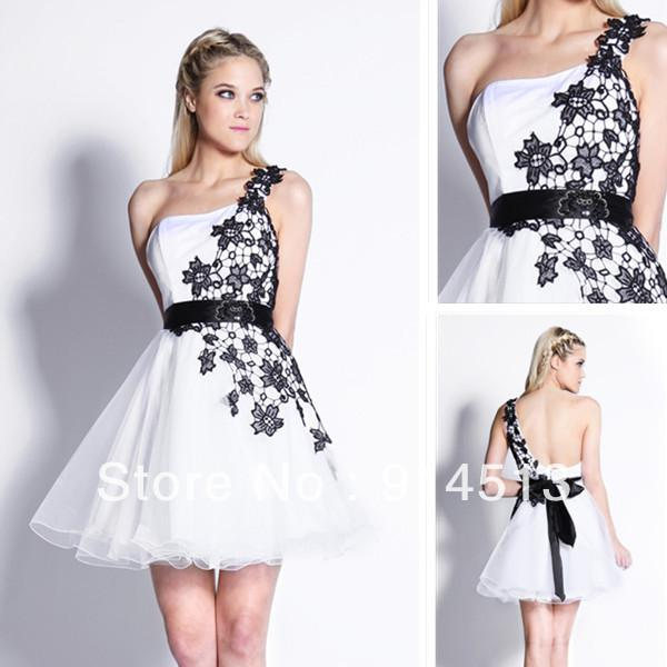 One Shoulder Applique Puffy Tulle Prom Dresses 2014 Short Short ...