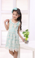 Wholesale High Quality Pure Cotton Bowknot Sweet Girls Lace Dress Best Fabric And Handmade Big Children Dresses Kids Wear QS484