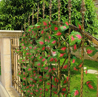 Wholesale 24Pcs cm quot Length Artificial Flowers Simulation Green Vine Red Leaf Rattan plastic Flower