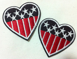 Wholesales 10 Pieces~USA Flag Heart (5 x 5 cm) Embroidered Iron On Applique Patch Punk Patch (W)