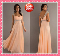 Cheap 2015 Fashion Peach Color Cap Short Sleeve V-Back Sheath Crystal Bead Sequins Evening Dresses Backless Prom Formal Pageant Party Dress Gowns
