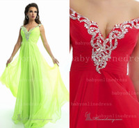 flowing prom gowns - Flow Chiffon Prom Dresses Off The Shoulder Quinceanera Dresses Beaded Pleated V Neck A Line Summer Evening Gown BO1625