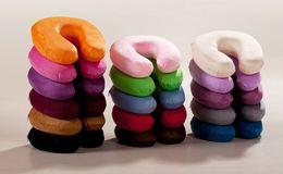 Wholesale New memory foam neck support U shaped rest pillow car travel comfort pillow colors short plush U care pillow