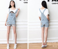 Wholesale Fashion Women Girsl Washed Jeans Denim Casual Hole Jumpsuit Romper Overall Shorts
