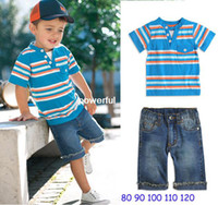 Boy Spring / Autumn Short free shipping 5sets lot 2013 new design kids boy striped t-shirt + jeans pants 2pcs clothing suit set baby summer wear