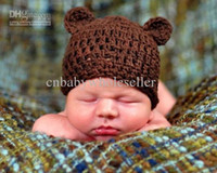 Unisex Winter Crochet Hats 2013 New Design Baby Hats Crochet Brown Hat for Christmas Free Shipping