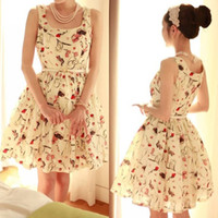 Wholesale Womens New Floral Printed Sleeveless Chiffon Summer Pleat Belted Swing Dress