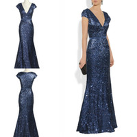 Wholesale Hot Sale Cheap Midnight Blue Evening Dress Deep V neck Short Sleeve Mermaid Fashion Prom Dress Ball Gown
