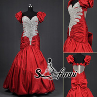 A-Line Sexy Embroidery Real photos 2014 stunning short sleeve beading bow back tarikediz evening dresses sexy full length wow Prom Dresses formal dresses