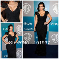 Prom Prom Dresses Natural Kim Kardashian Evening Gown Black Red Carpet Applique V-Neck Lace Short Sleeves Prom Dress Gown Free Shipping