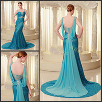 Wholesale Blue Sequins Ribbon Beads Backless Spaghetti straps Mermaid Sleeveless Court Train Prom Gowns Evening Dresses A960