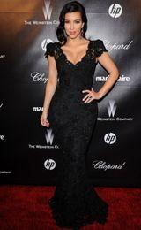 Wholesale Hot Sale Sexy Black Kim Kardashian Celebrity Dress Sheath V neck Short Sleeves Beaded Lace Prom Evening Dresses