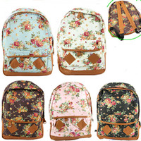 Wholesale Women Fashion Vintage Cute Flower School Book Campus Bag Backpack New